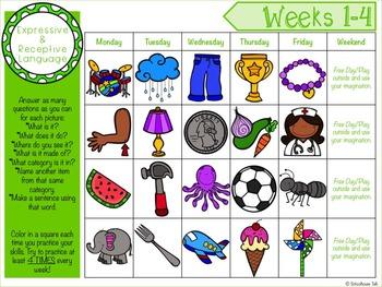 {FREE} Summer Homework Calendars for Language