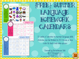 {FREE} Summer Homework Calendars for Language