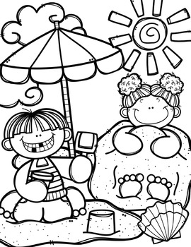 Summer Coloring Pages Free Tpt