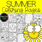 Summer Coloring Pages (+ writing papers) {Made by Creative Clips Clipart}