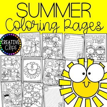Summer Coloring Pages (+ writing papers) Made by Creative Clips Clipart