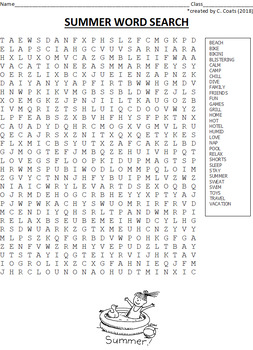 FREE Summer Word Search