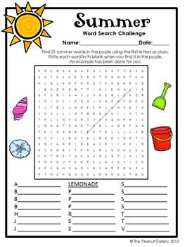 Free Summer Word Search Challenge By The Peanut Gallery Tpt