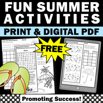 FREE Summer Worksheets for Second, Third, Fourth, Beach Themed Activities