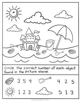Summer color and count picture worksheet-NO PREP