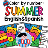 FREE Summer color by number English and Spanish