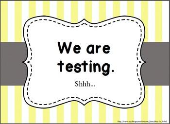 "FREE ~ Super Cute ""We are testing!"" Door Sign"