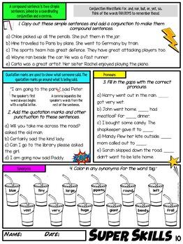FREE Super Literacy Skills Activity - Punctuation, Vocabulary, Grammar (US)