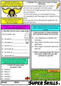 FREE Super Literacy Skills Activity Sheet