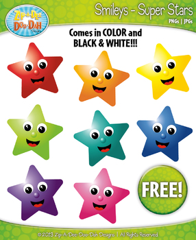 FREE Super Star Smiley Face Clipart {Zip-A-Dee-Doo-Dah Designs}