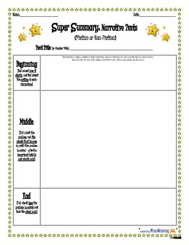 """""""Super Summary"""" Graphic Organizer for Any Narrative Text - fillable PDF!"""