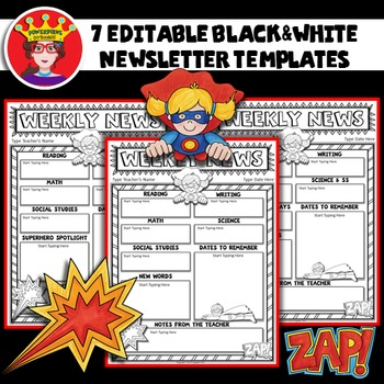 Free superhero editable newsletter template by powerpoint for Free editable newsletter templates