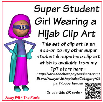 FREE Superhero Girl in Hijab Clip Art, Color and Blackline, Away With The Pixels