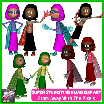 FREE Superhero Girl in Hijab Clip Art, Color and Blackline
