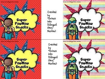 FREE - Superheroes Snack Bag Labels ENGL & SPAN