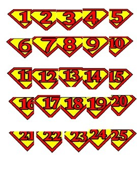 FREE Superman Numbers Printable