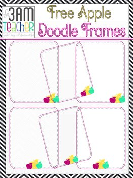 FREE Sweet Apple Doodle Frames: Clip Art
