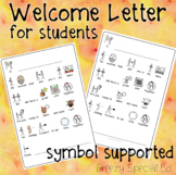 FREE Symbol Supported - Welcome Back to School Letter - for Students