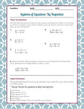 FREE Systems of Equations By Inspection Partner Activity