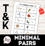 FREE /T/ and /K/ Minimal Pairs Speech Handout (Fronting/Backing)