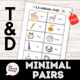 FREE /T/ and /D/ Minimal Pairs Worksheet for VOICING/DEVOICING