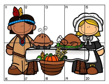 FREE THANKSGIVING Math Number Puzzles 1 – 10 and 11 - 20