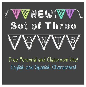 FREE - THREE New FONTS - BANNERS and more! - personal classroom use