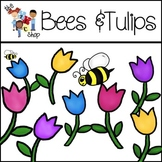 FREE! TLC Clip Art - Bees and Tulips