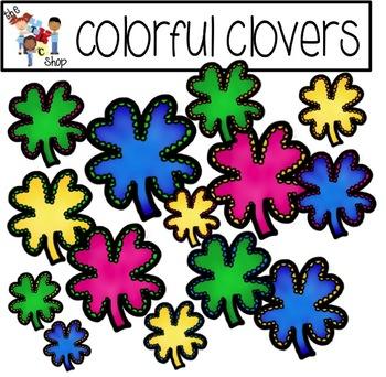 FREE! TLC Clip Art - Colorful Clovers