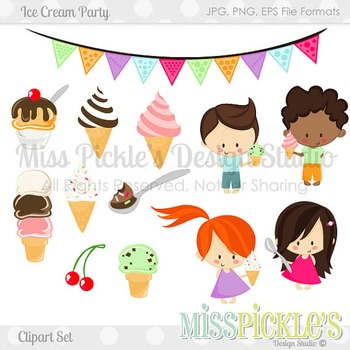 (FREE TODAY) Ice Cream Party- Commercial Use Clipart Set