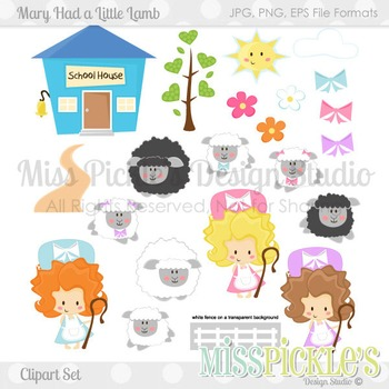 (FREE TODAY) Mary Had a Little Lamb- Commercial Use Clipart Set