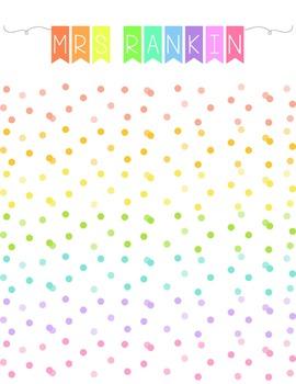 Rainbow teacher binder cover