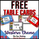 FREE Table Number Signs and Table Color Labels | Western Theme
