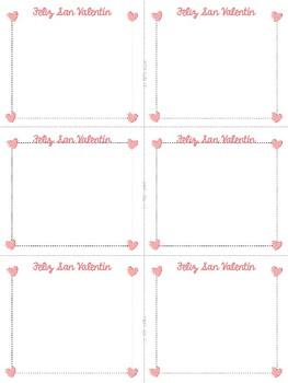 FREE Tarjetas de San Valentín Spanish Valentine's Day Cards