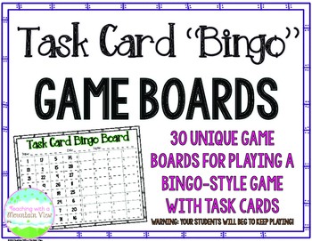 FREE Task Card Bingo Game Boards