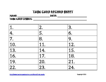 FREE Task Card Record Sheet
