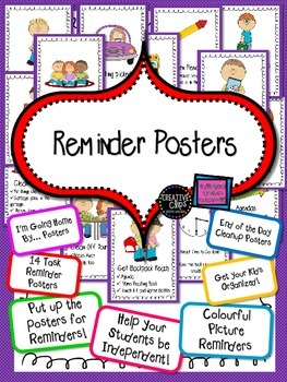 FREE Task Reminder Posters Organize Your Room! Bright and