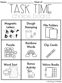 FREE Task Time Choice Boards for Centers, Rotations, or Word Work