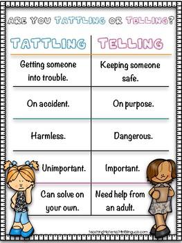 FREE- Tattling or Telling poster