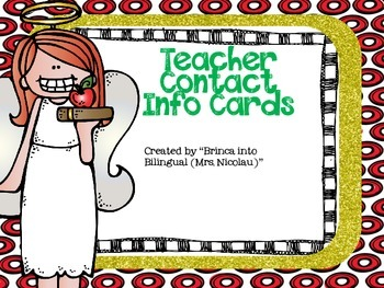 FREE Teacher Angel Contact Info Card - EDITABLE- (English and Spanish)