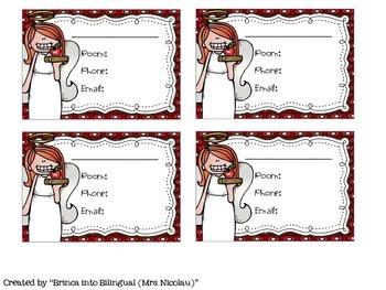 FREE Teacher Angel Contact Info Card - EDITABLE- (English and Spanish)
