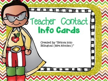 FREE Superheroes Theme Teacher Contact Info Card - EDITABLE- (Engl and Span)