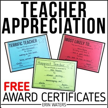 FREE Teacher Appreciation Award Certificates