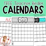 FREE Teacher Binder Calendars