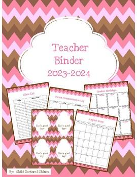 Teacher Organizational Binder 2017-2018 Pink & Brown Chevron