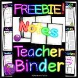 FREE Notes pages for Teacher Planner