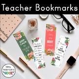 Teacher Bookmarks {Floral Watercolor}