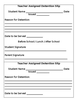 FREE Teacher Detention Slip