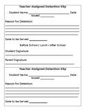 FREE Teacher Detention Slip