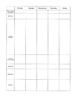 FREE! Teacher Plan Book Pages